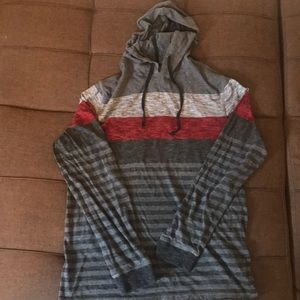 Striped pull over lightweight hoodie